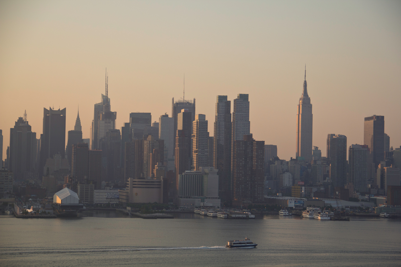 I took this photo of the Manhattan skyline from Weehawken, New Jersey at sunrise.