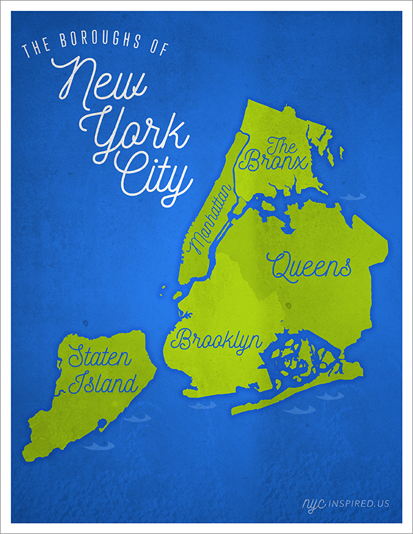 Our custom designed map of NYC. Prints are available on our Etsy store.